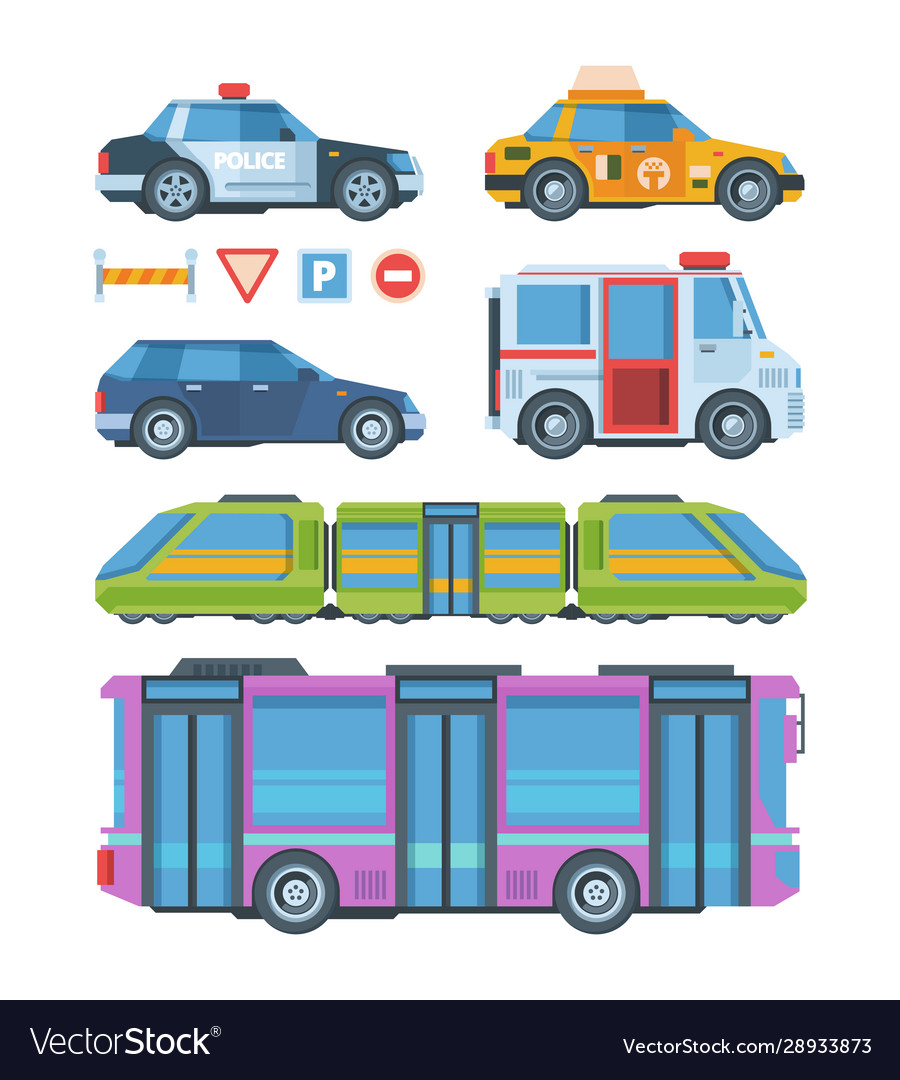 City transport colorful flat