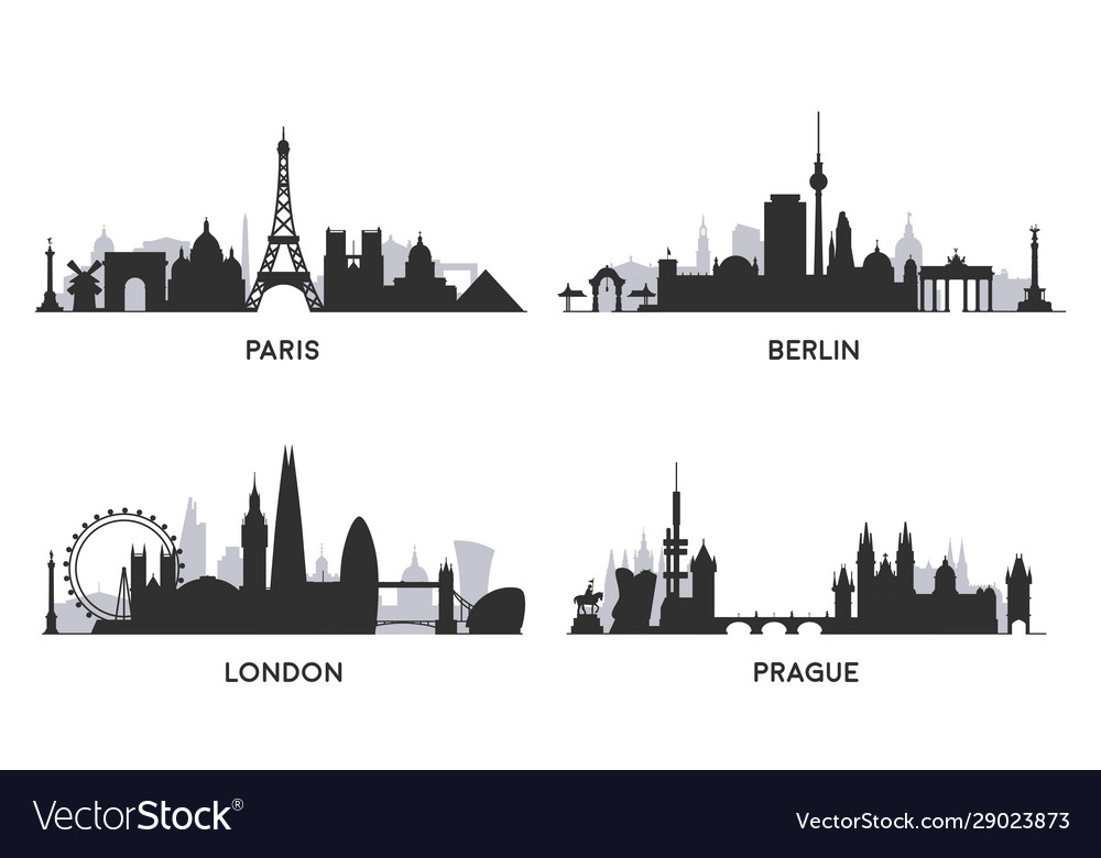 European cities black and white skylines