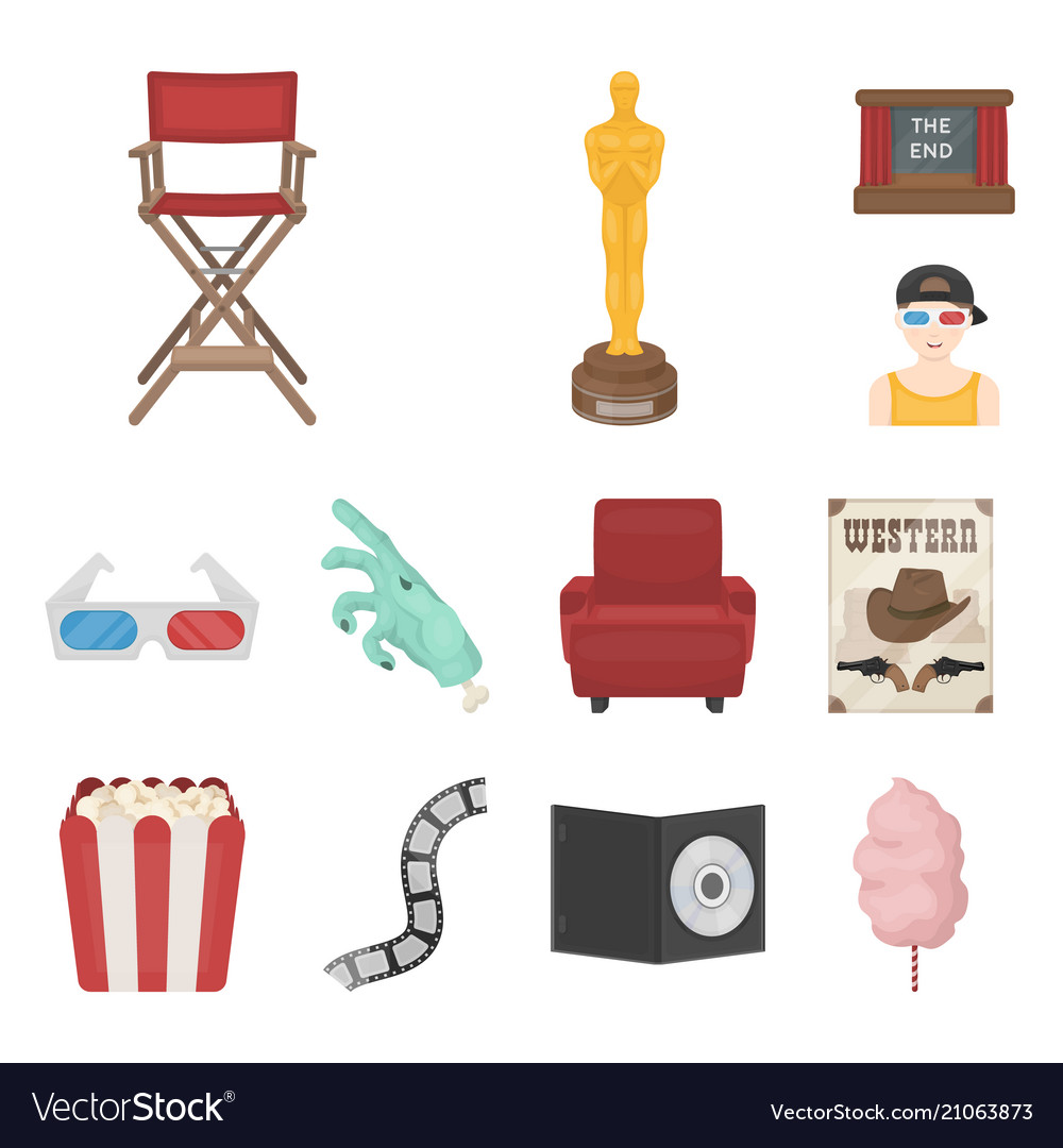 Films and cinema cartoon icons in set collection