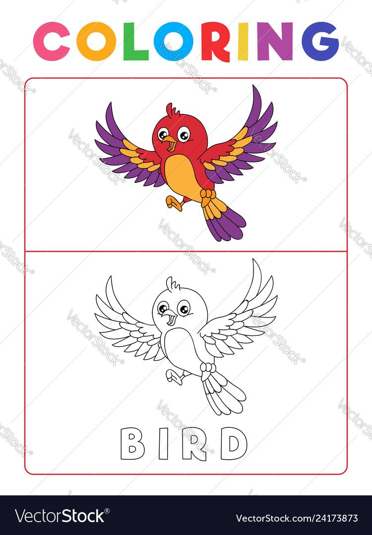 Funny bird coloring book with example preschool