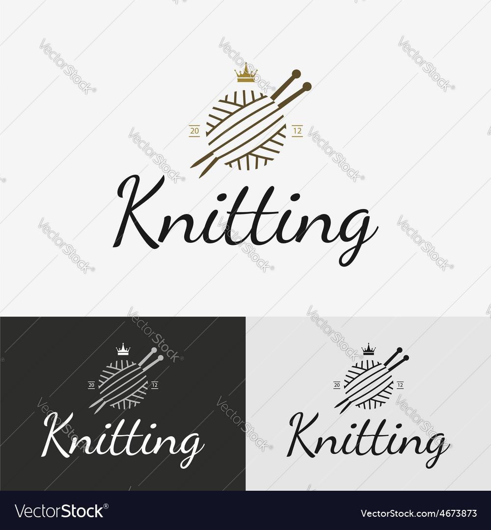 Hand knit logo badge or label
