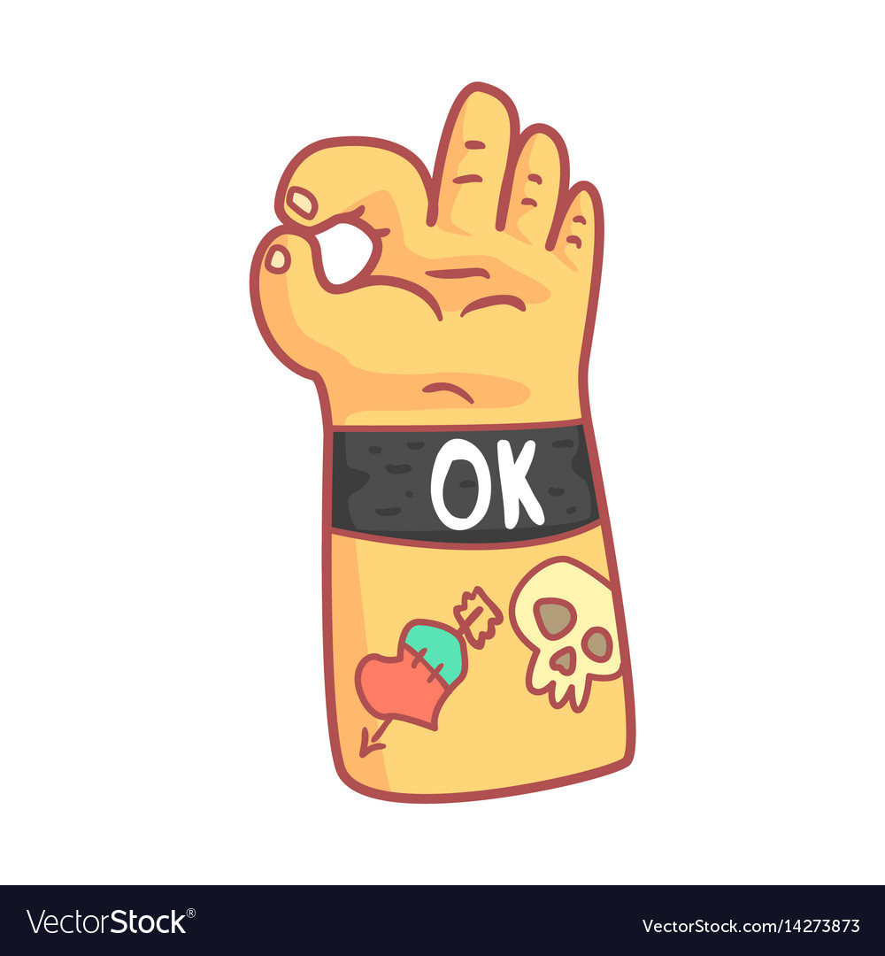 Hand with tattoos showing ok sign colorful