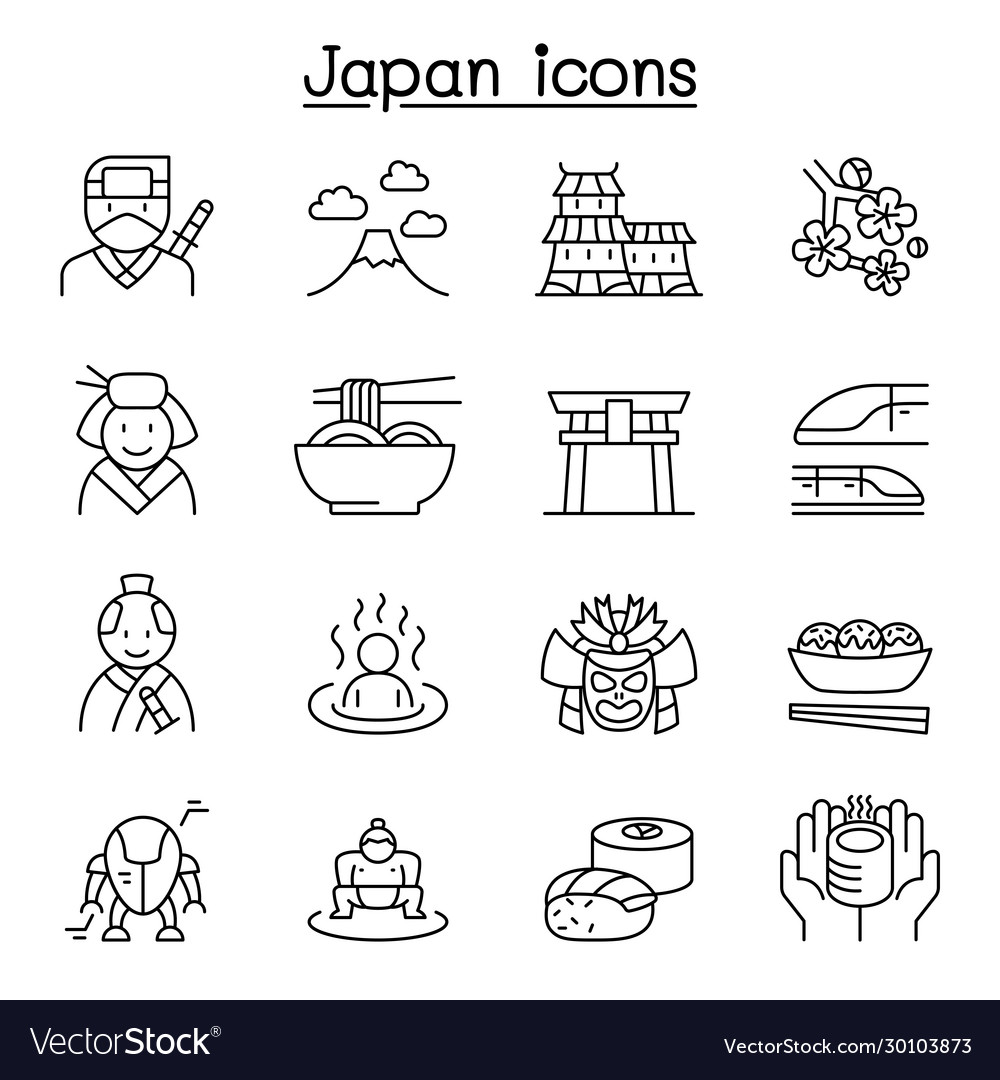 Japan icon set in thin line style