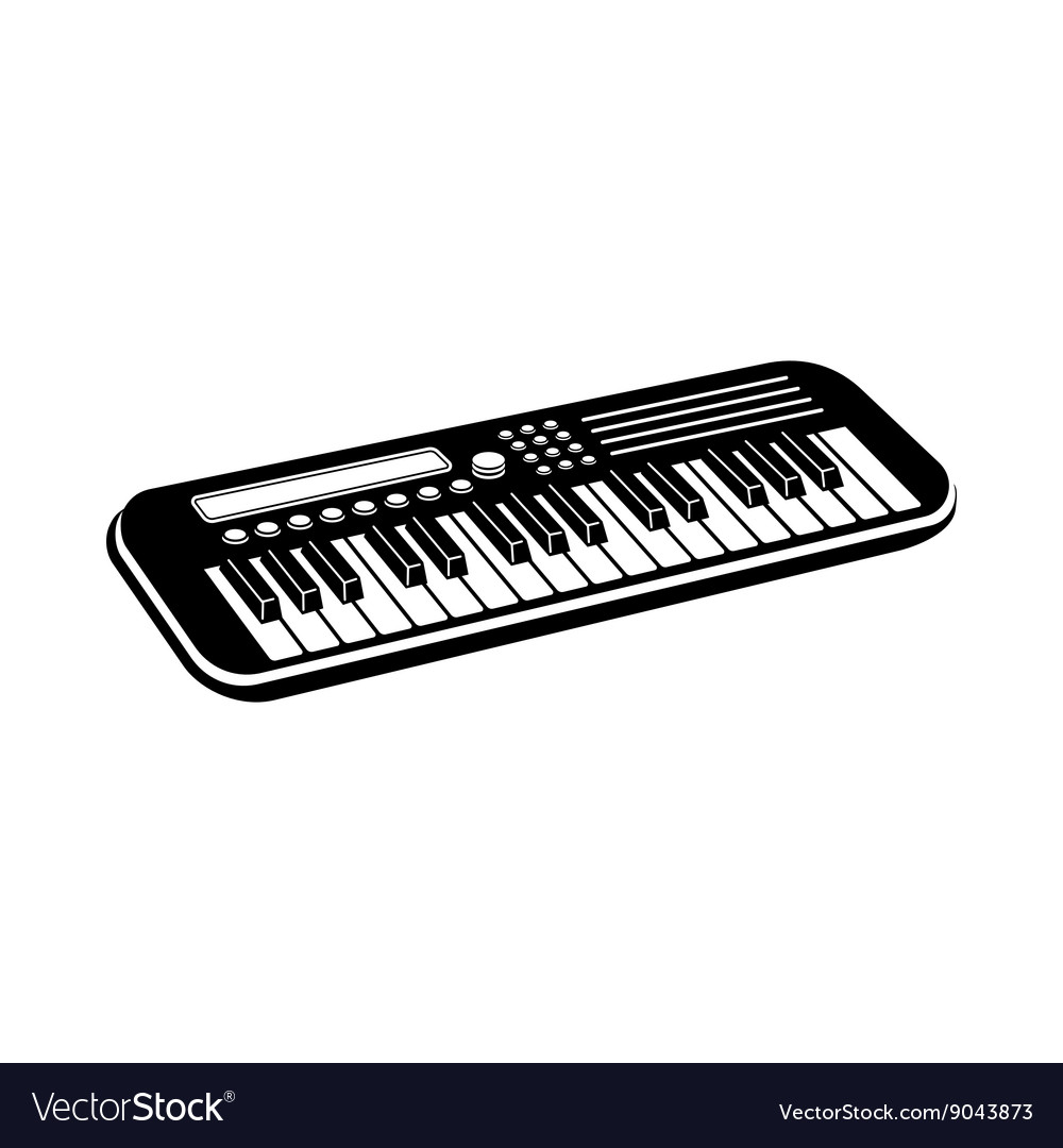 Music synthesizer icon black simple style vector image