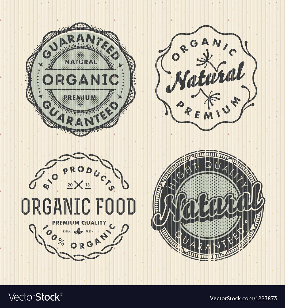 Set vintage organic labels