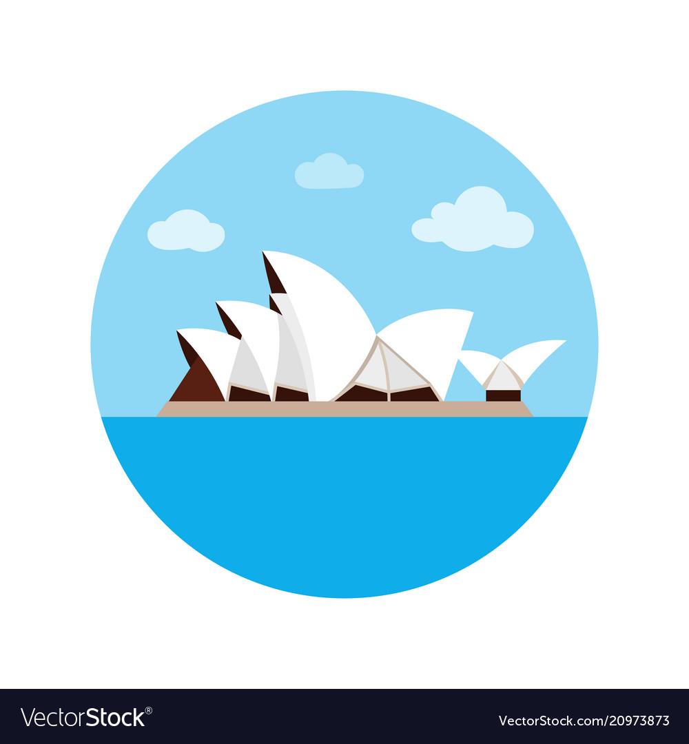 Sydney opera house icon in cartoon style isolated