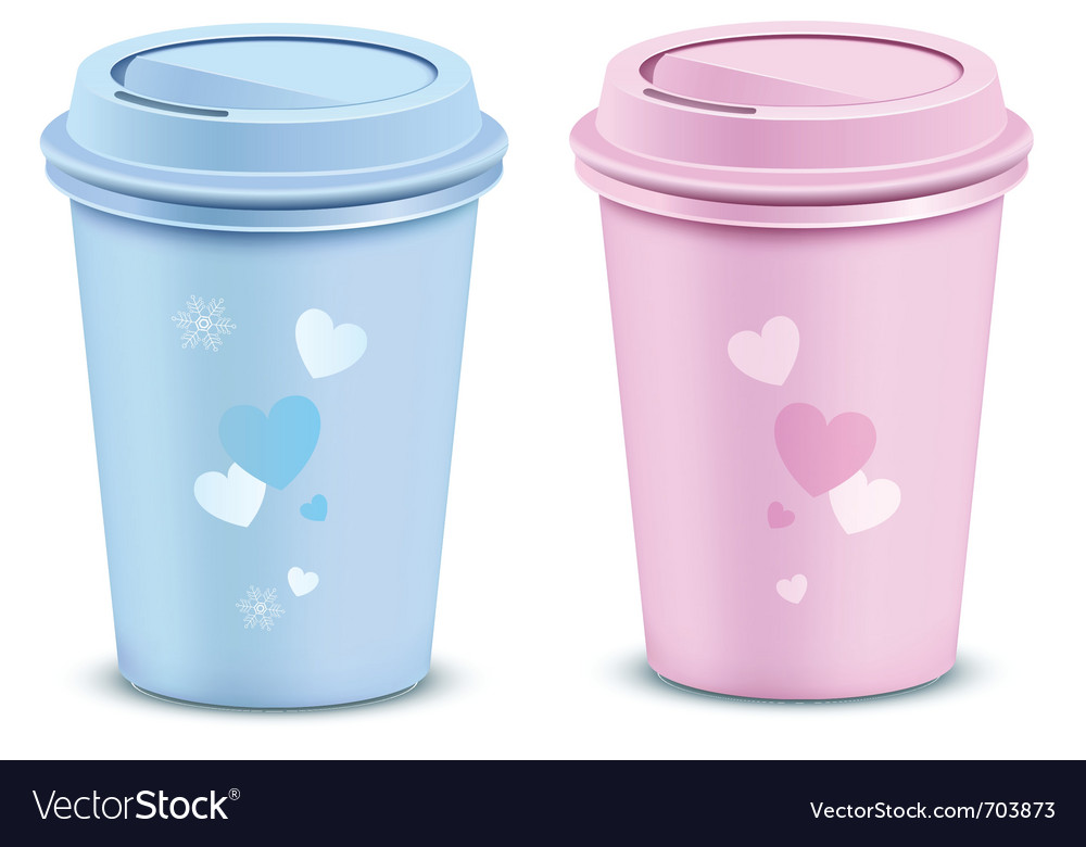 Valentines coffee cups vector image