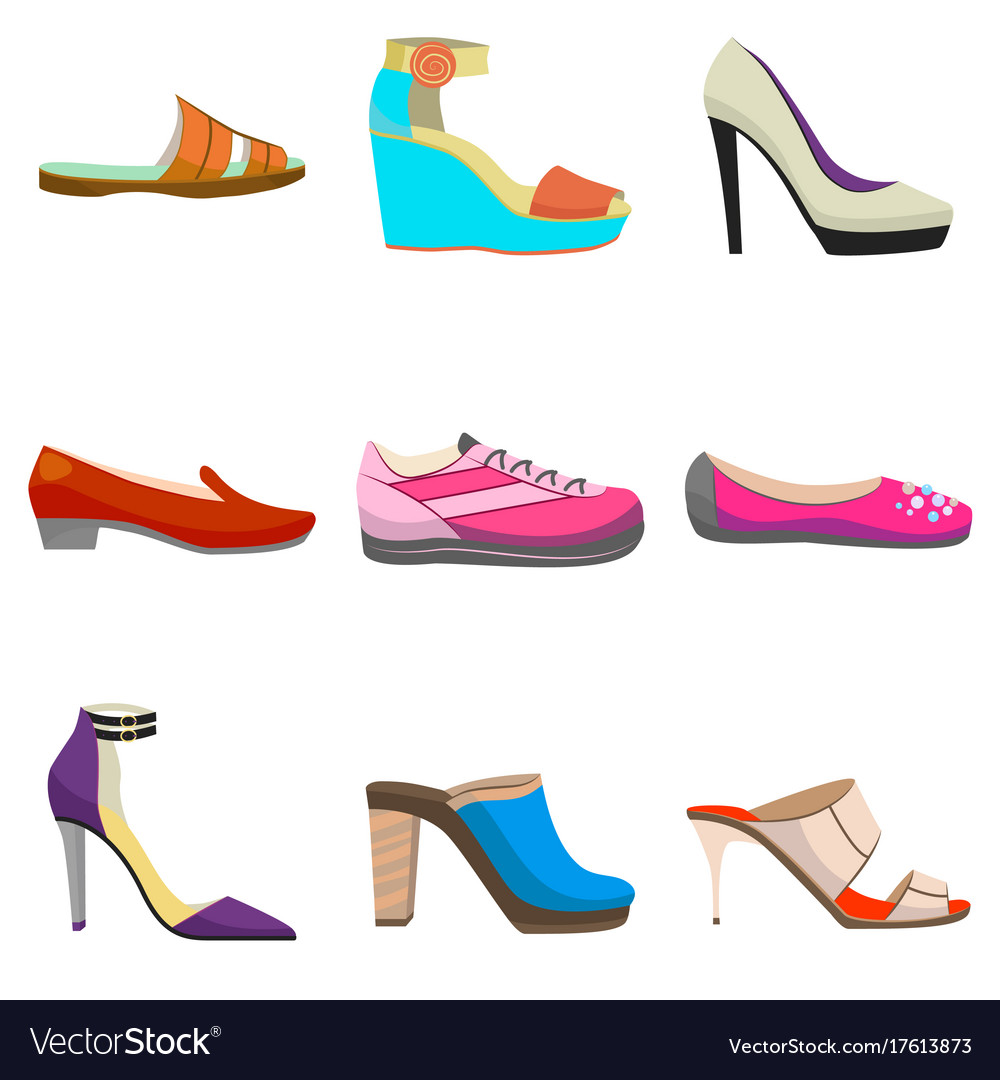 Woman Colorful Shoes Set In Cartoon Style Vector Image