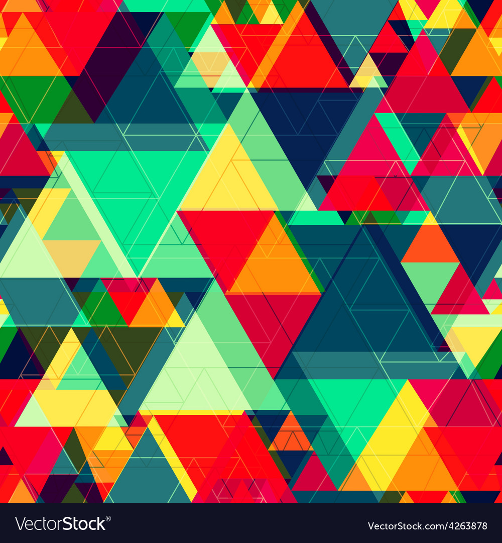 Bright color triangle seamless texture Royalty Free Vector