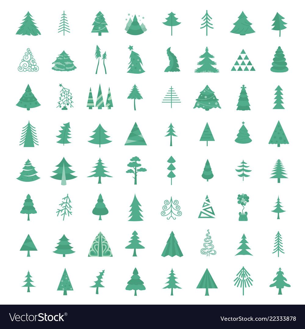 Christmas tree icon set flat isolated design new