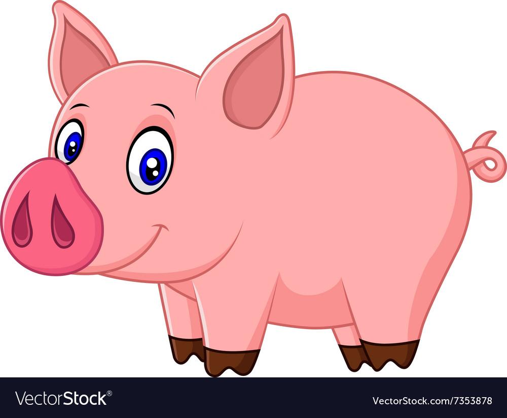 Cute baby pig cartoon Royalty Free Vector Image
