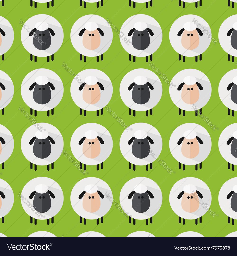 Cute Green Sheep Wallpaper Vector Image
