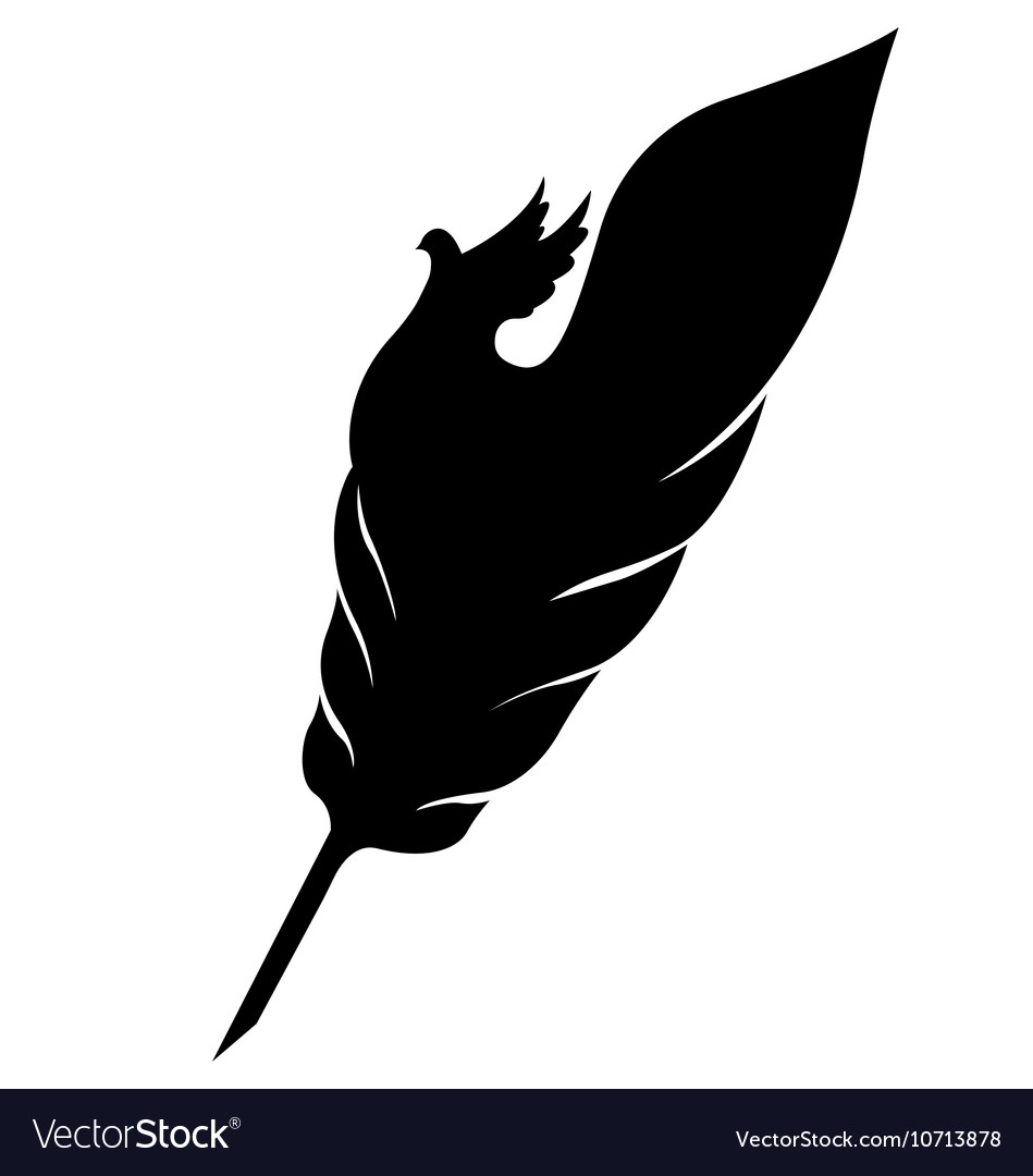 Feather With Dove Silhouette