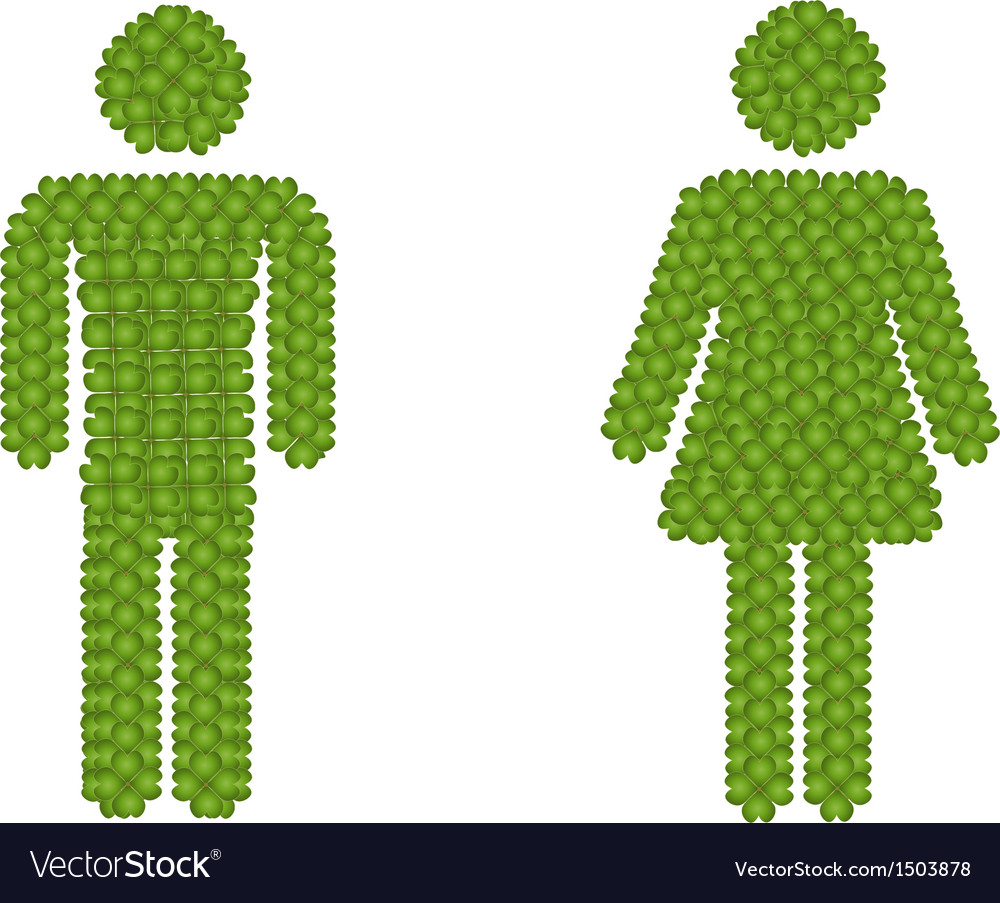 Gender Icon Made of Green Clover vector image