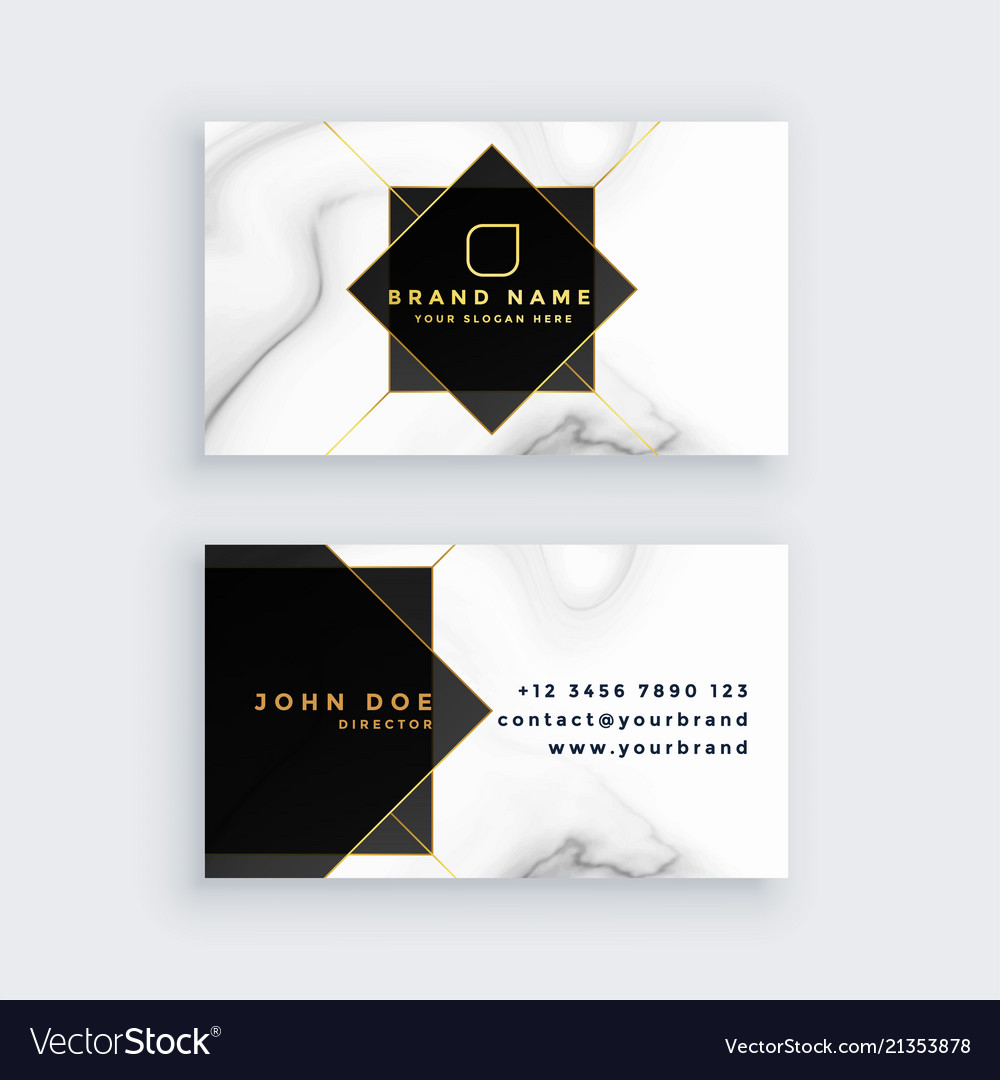 Luxury marble style black and white business card