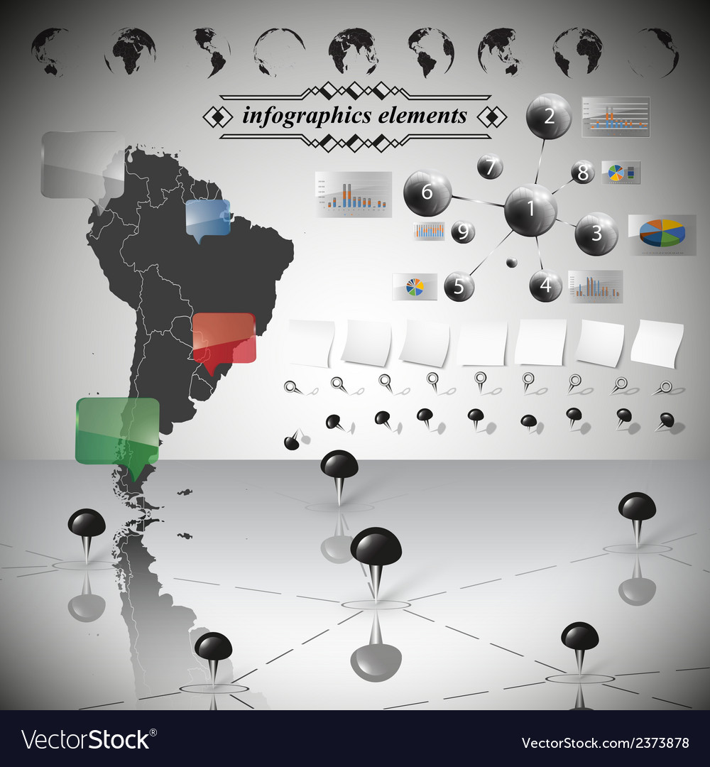Map of South America different icons and