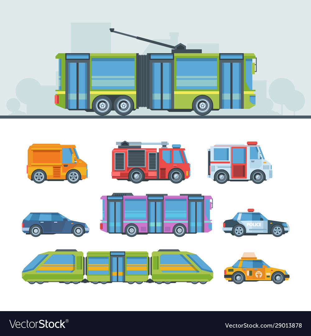 Municipal cars colorful flat