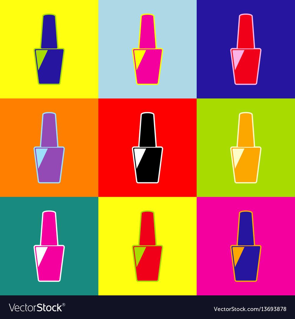 Nail polish sign pop-art style colorful