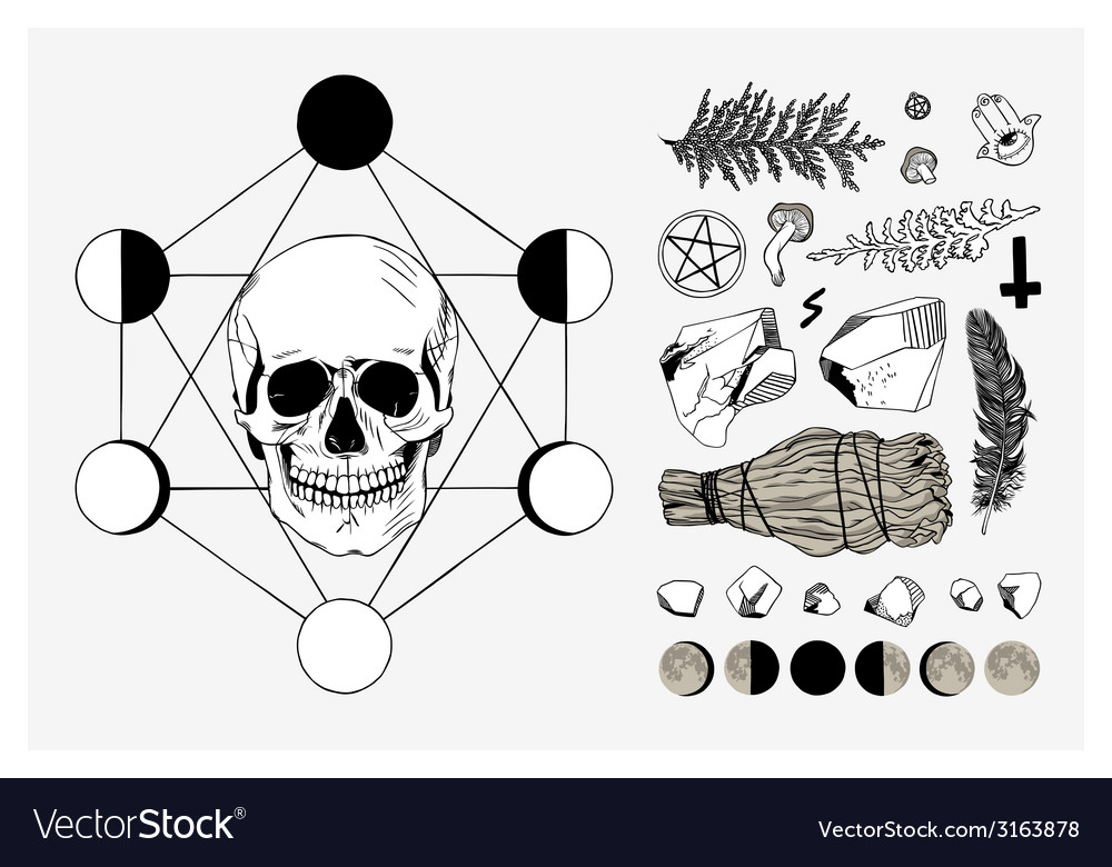 Set of ritual things black contour vector image