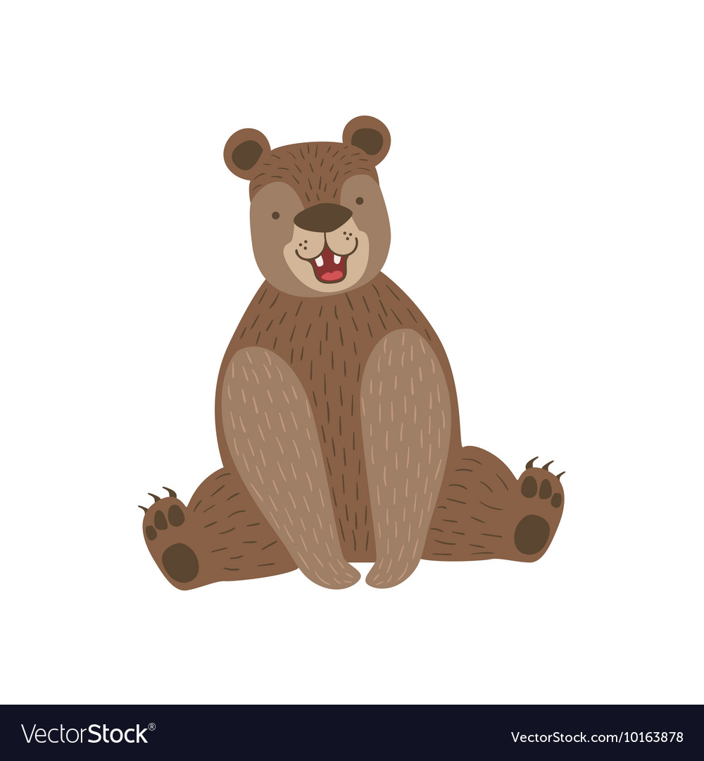 Sitting Brown Bear Smiling vector image