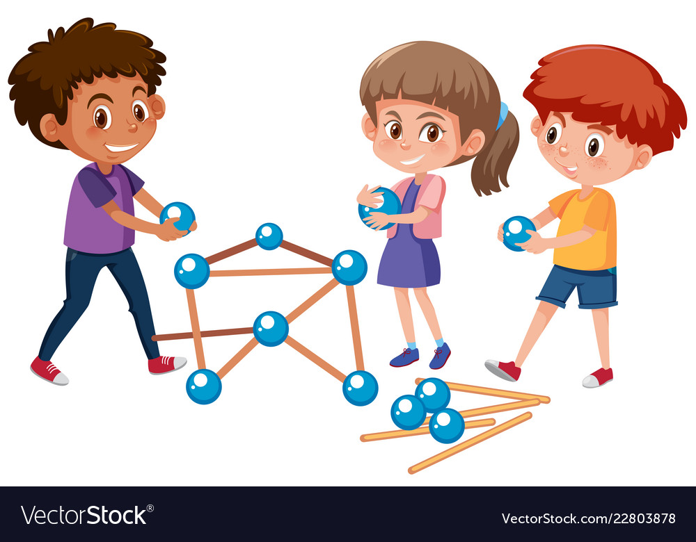 Student Playing Education Toys Royalty Free Vector Image