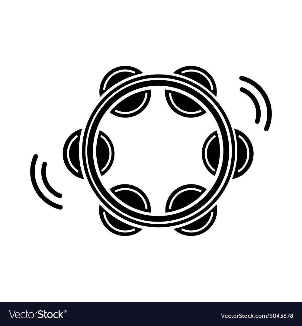 Tambourine icon black simple style