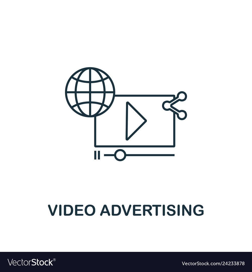 Video advertising icon thin line style symbol