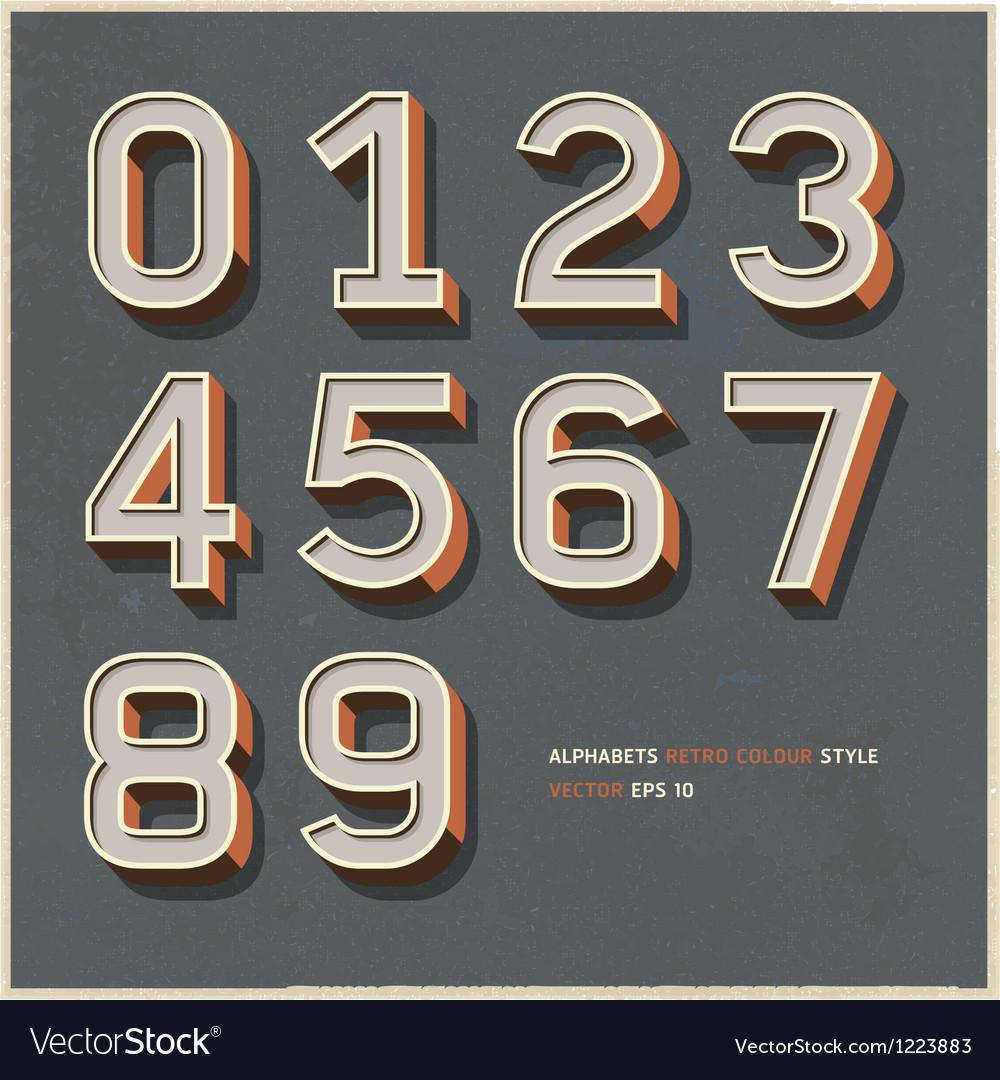 Alphabet number retro color vector image
