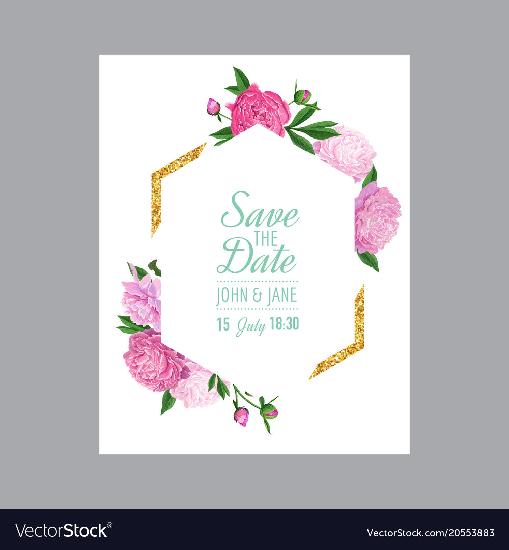 Floral Wedding Invitation Template Pink Peonies