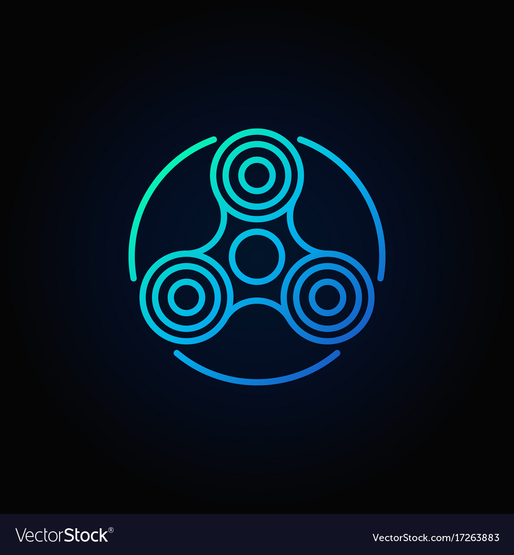 Hand fidget spinner blue icon vector image