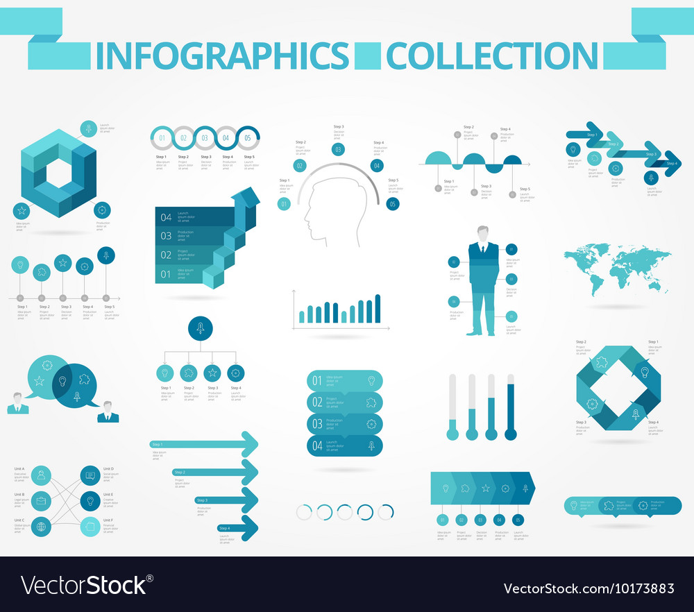Infographics collection blue business