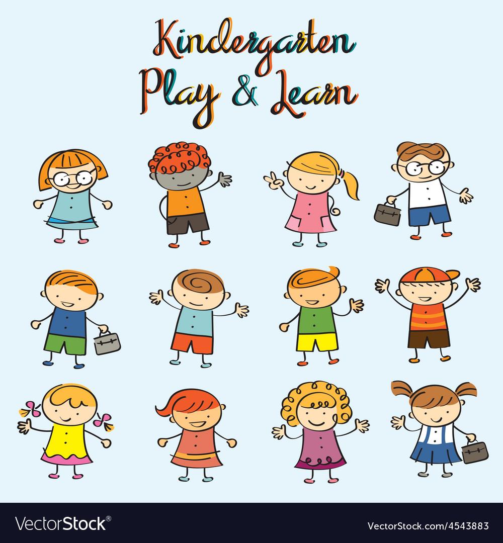 Kindergarten Kids Characters Set
