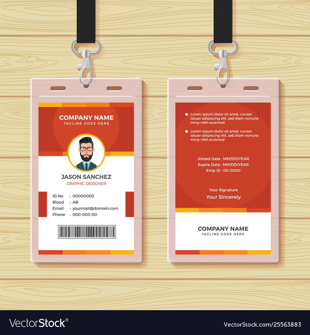 Red employee id card design template Royalty Free Vector Within Company Id Card Design Template