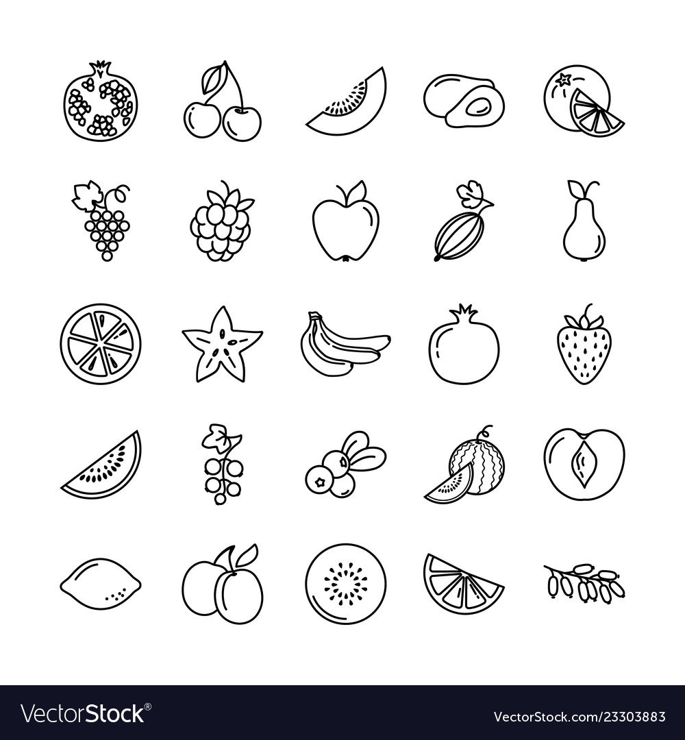 Set of icons with different fruits