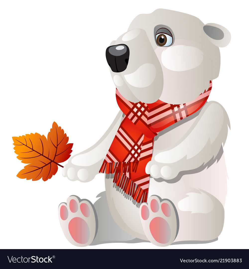 Toy white bear with red plaid scarf holding a