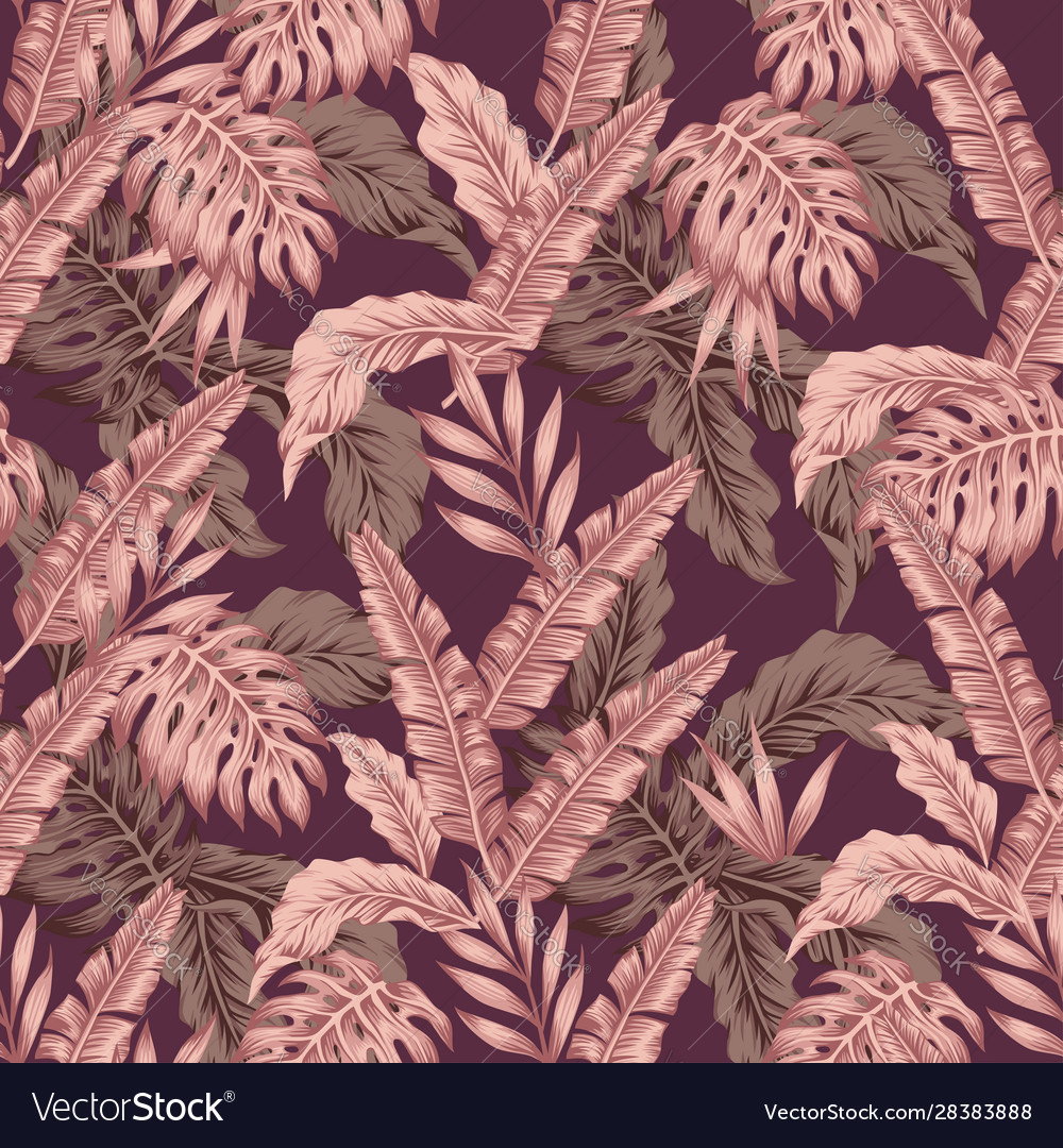 Abstract pink color leaves seamless wine