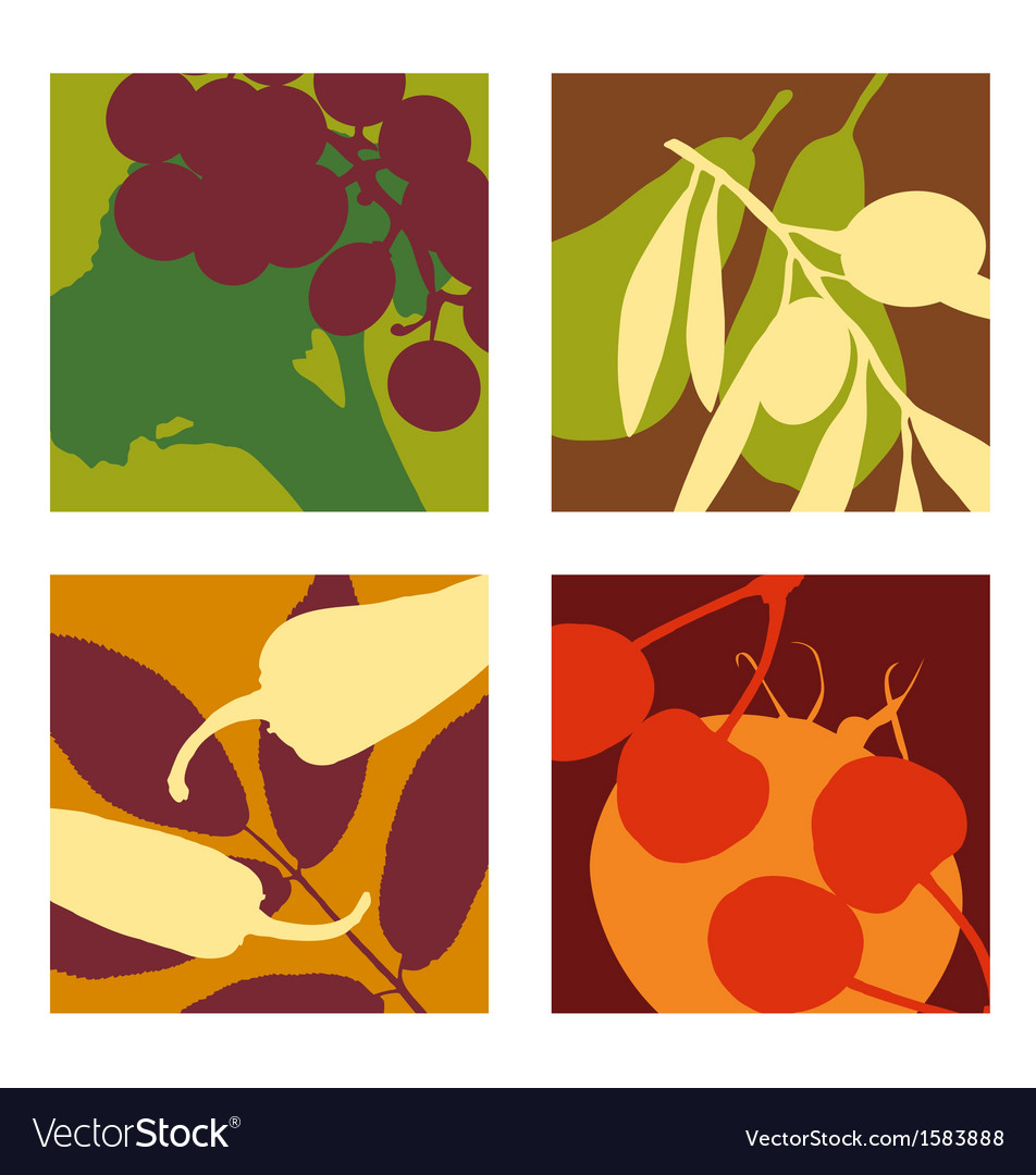 Abstract vegetable and fruit designs set 1 vector image