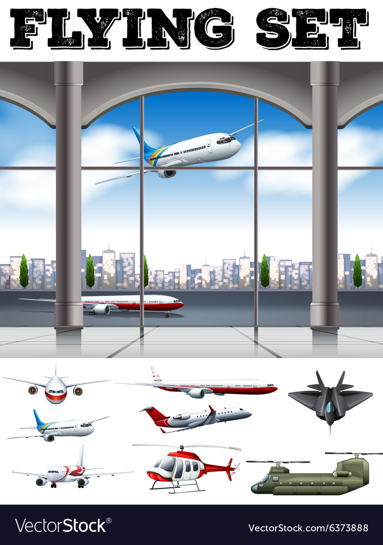 Airport scene with many airplanes