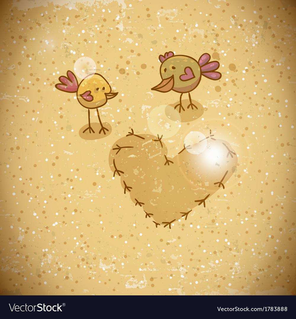 Cartoon birds with heart