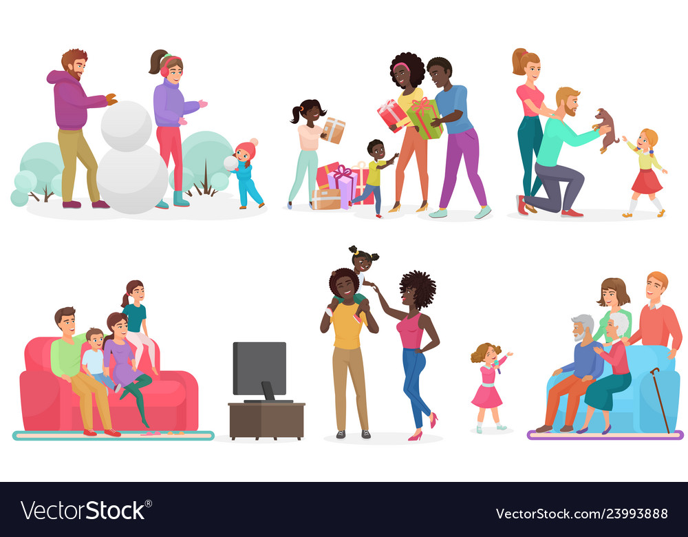 Cartoon scenes of family life set mother father