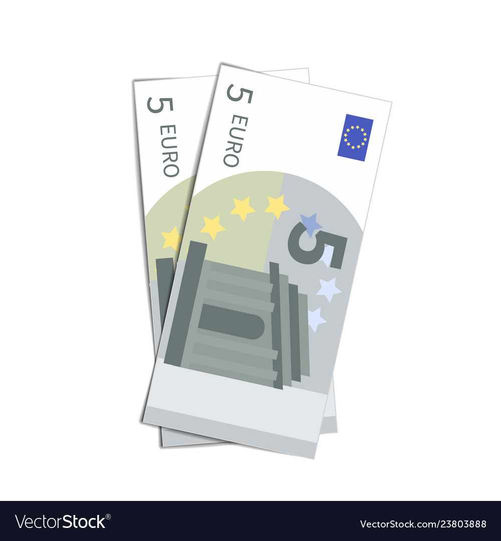 Couple of simple five euro banknotes on white