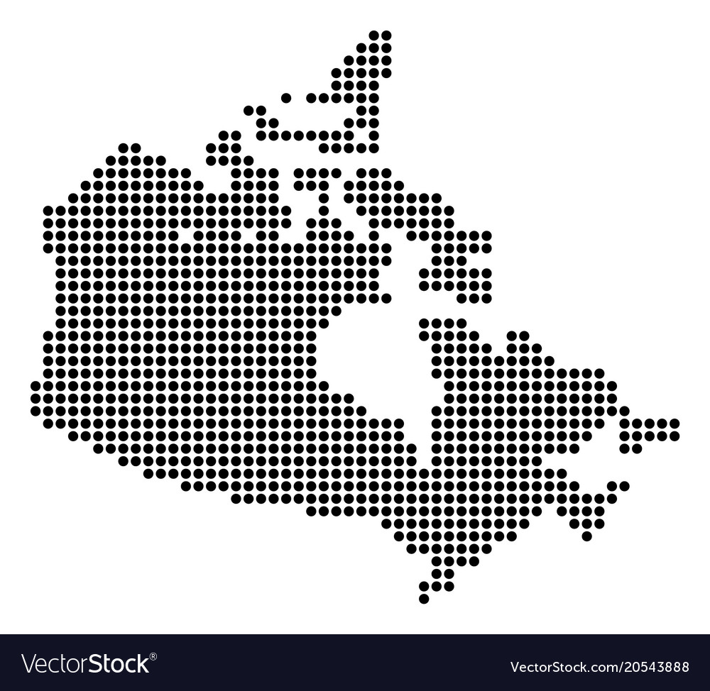 Dotted pixel canada map Royalty Free Vector Image