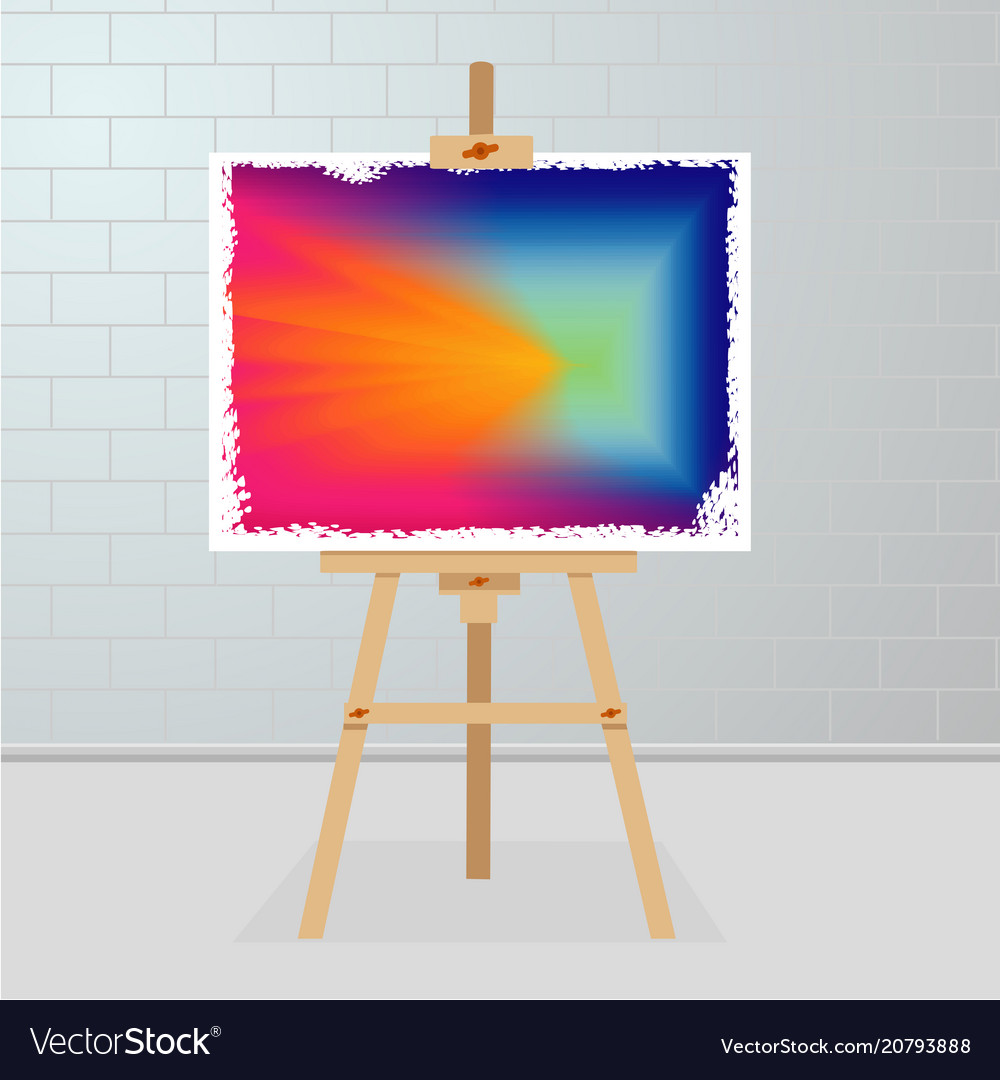 Easel with a painting on canvas art gallery room