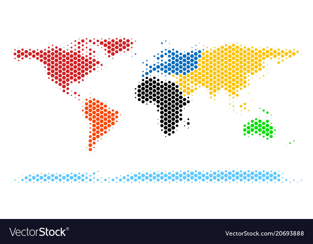 Hexagon halftone world continent map royalty free vector hexagon halftone world continent map vector image gumiabroncs Gallery