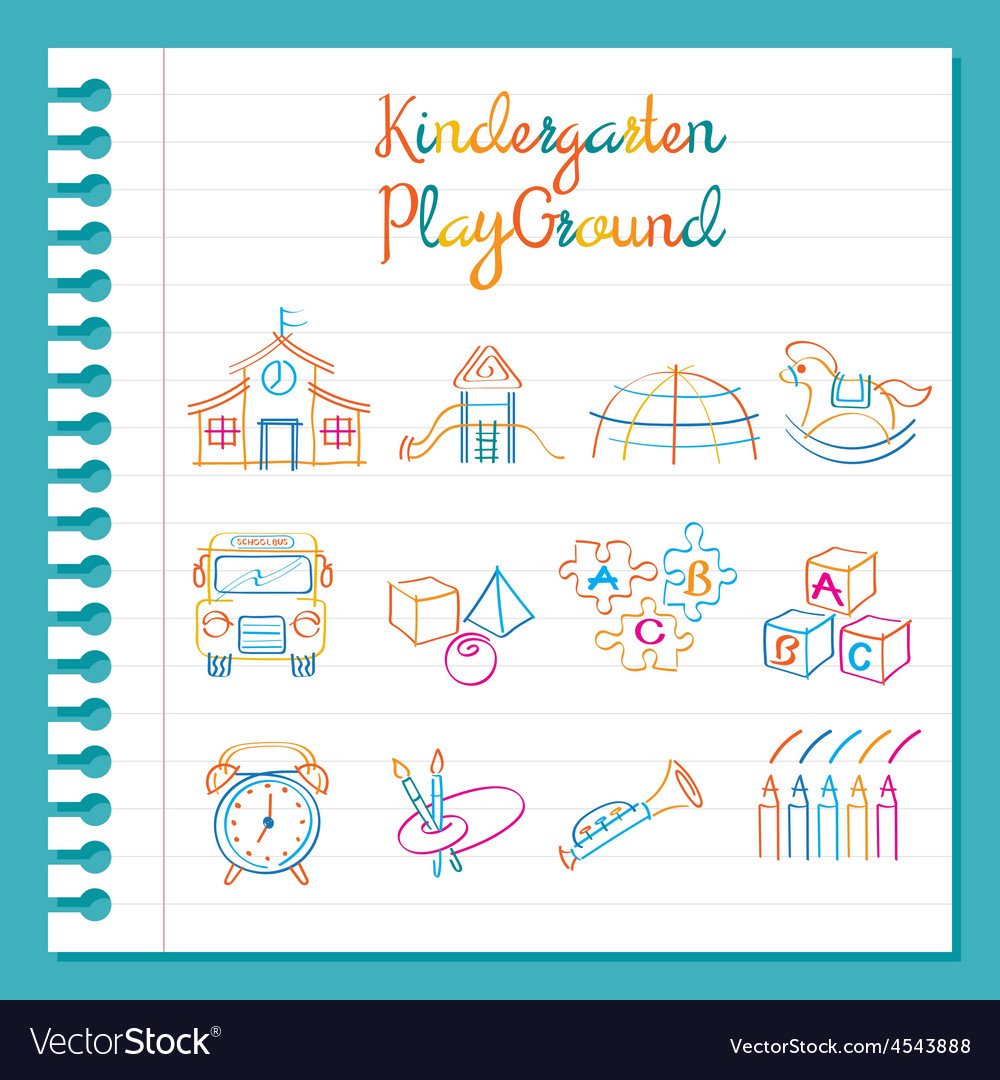 Kindergarten Line Drawing Toys and Playground Set