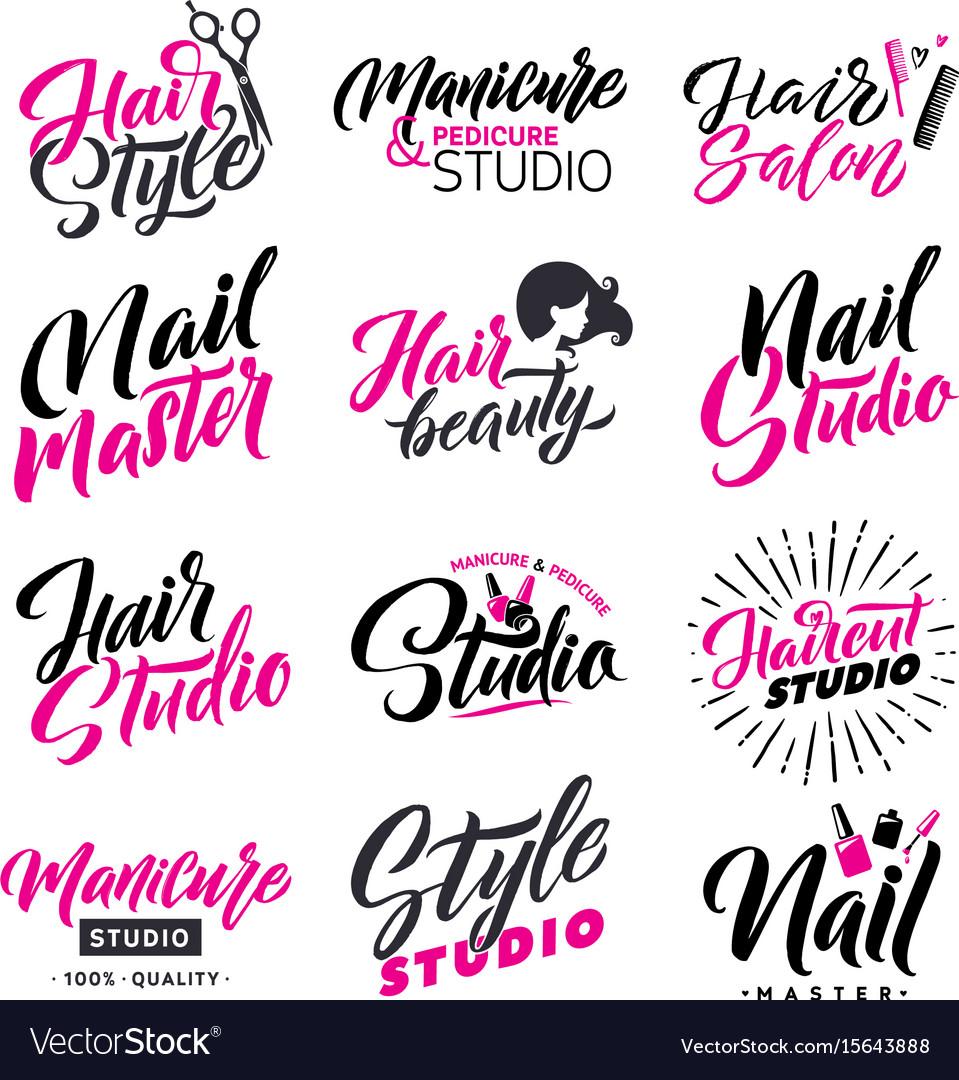Logo beauty salon lettering set hair studio and