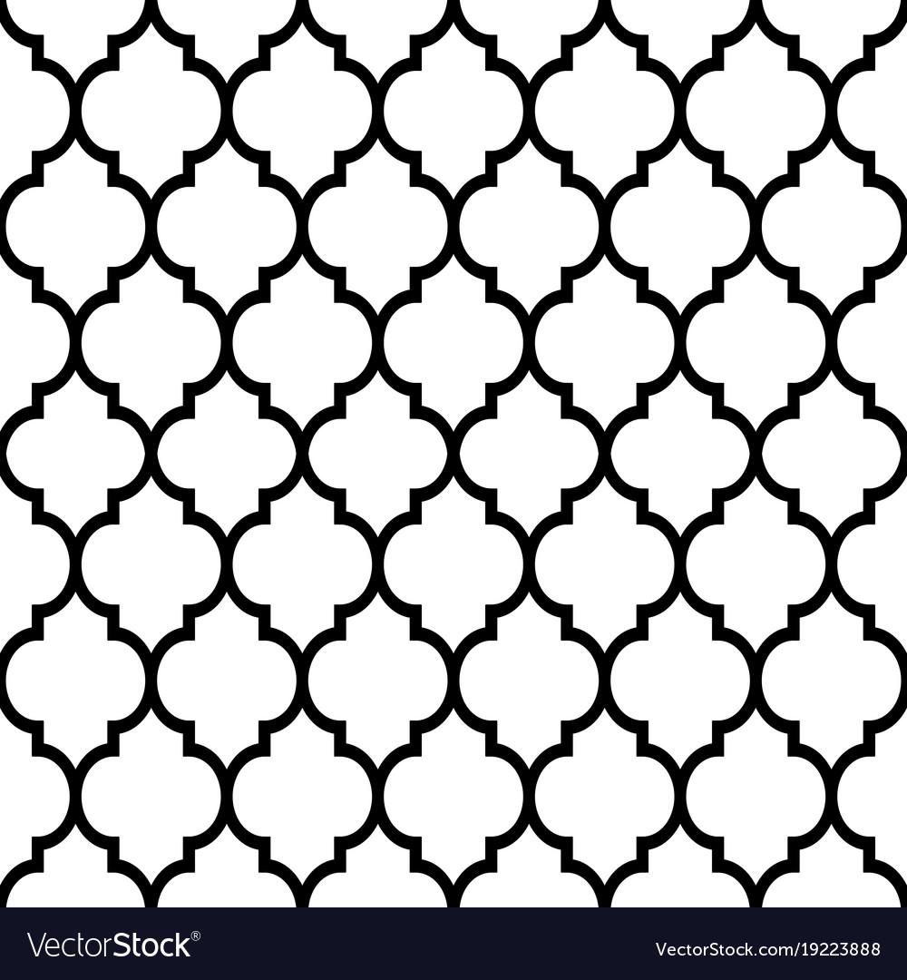 Moroccan Tiles Design Seamless Black Pattern