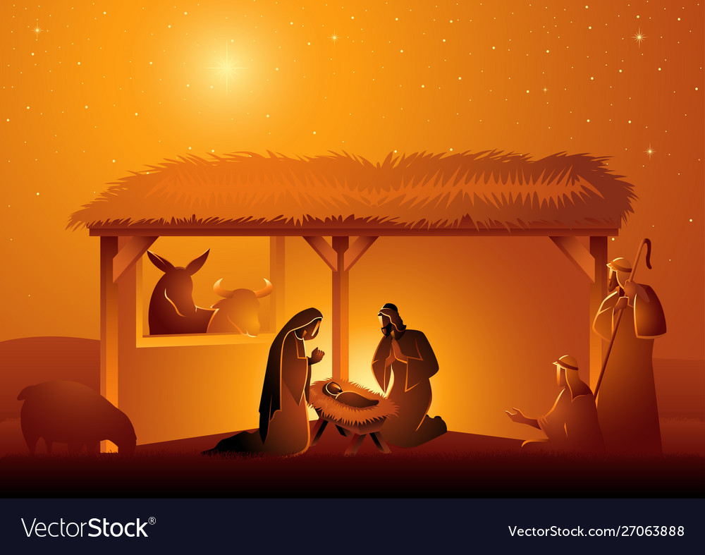Nativity scene holy family in stable