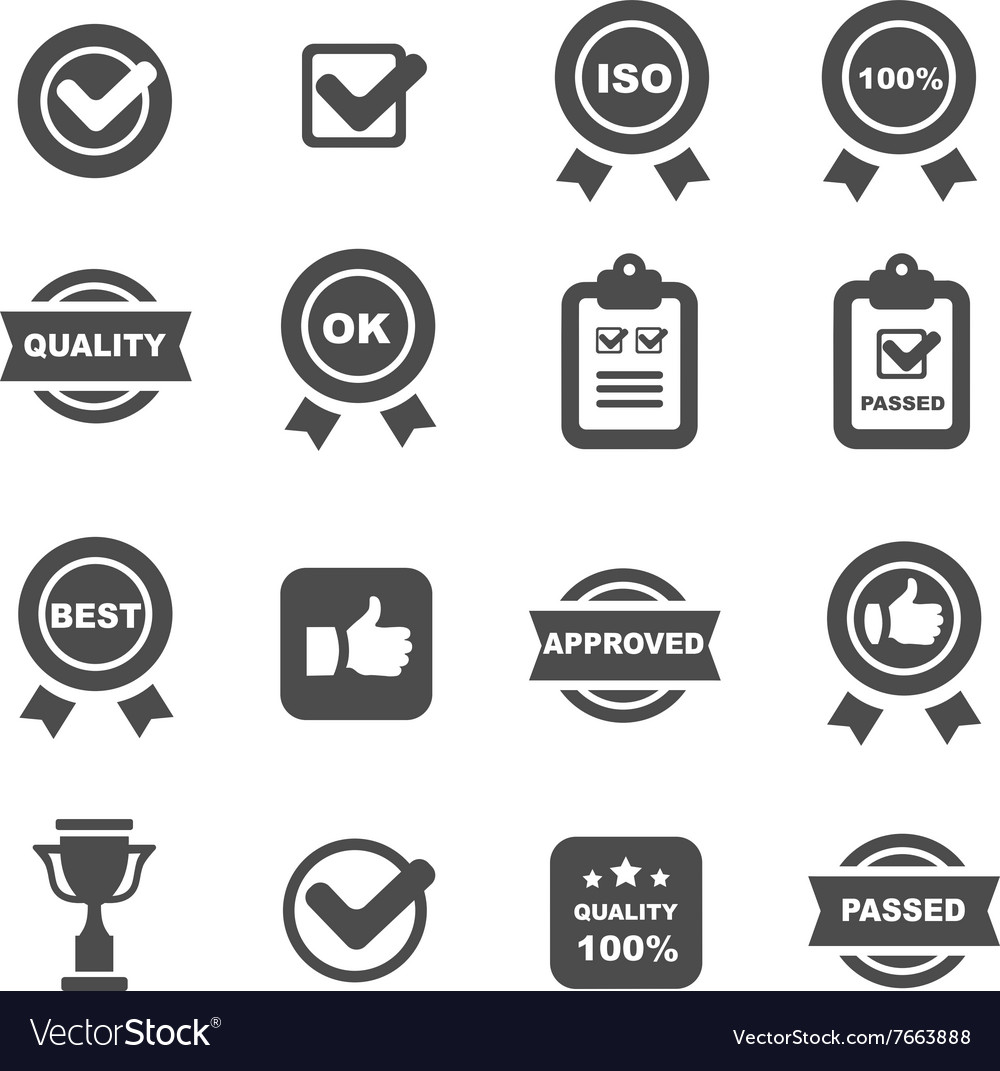 Quality control icons set symbols vector image