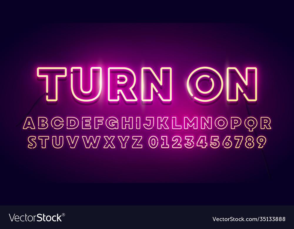 Retro glow font neon light typography